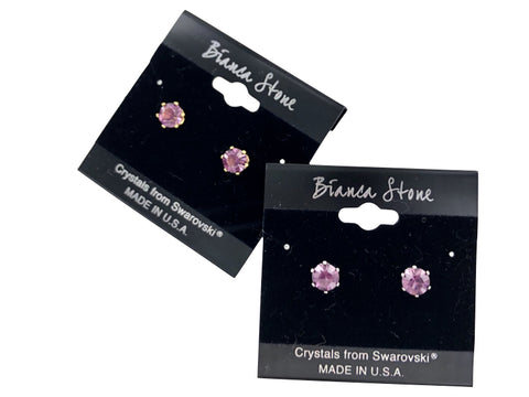 February Birthstone Stud Earrings With Genuine Swarovski Crystals