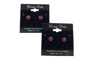 October Birthstone Stud Earrings With Genuine Swarovski Crystals