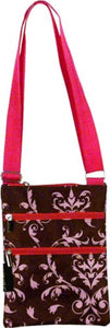Pink And Brown Damask Print Cross Body Sling