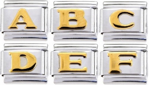 Soldered Gold Letters 9mm Italian charm
