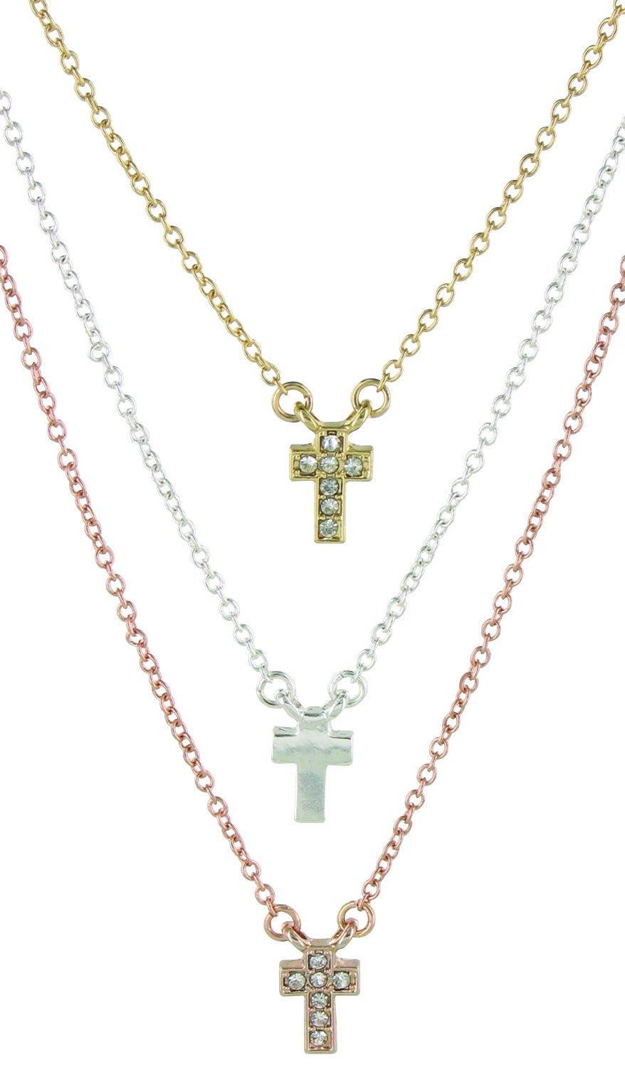 Triple Blessings Tri-Tone Cross Necklace