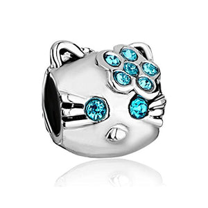 Blue Swarovski Element Crystal Hello Kitty European Bead