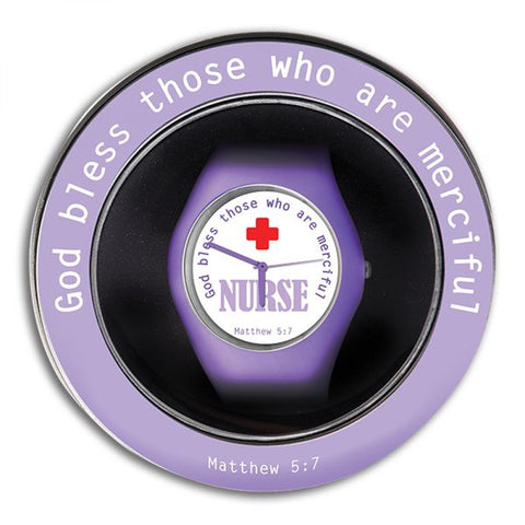 Purple Silicone Nurse Watch in Matching Tin