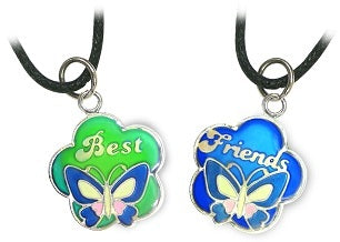 2pc Best Friends Butterfly Mood Necklace Set