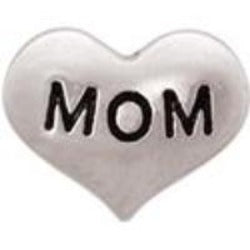 Mom Silver Heart Floating Charm