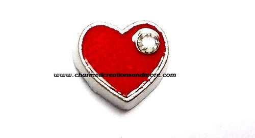 CZ Red Heart Floating Charm
