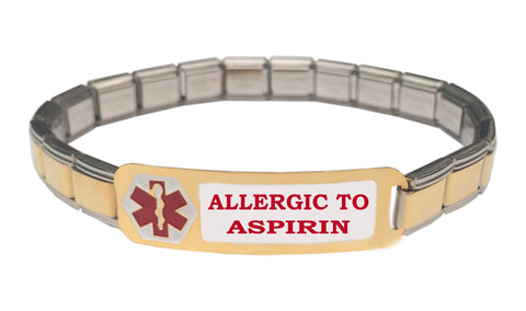 Allergic To Aspirin Medical Alert 9mm Italian Charm Starter Bracelet