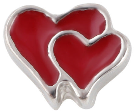 Double Heart Floating Charm