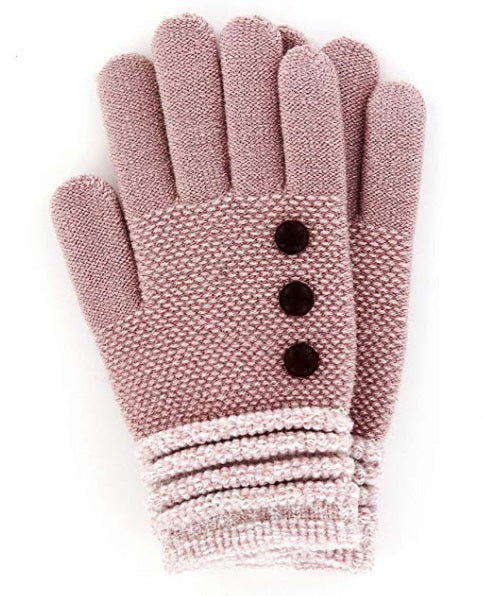 Blush Britt's Knits Ultra Soft Button Accent Gloves