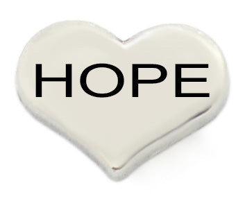 Hope Silver Heart Floating Charm