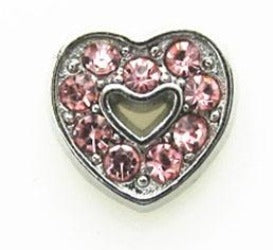 Pink CZ Heart Floating Charm