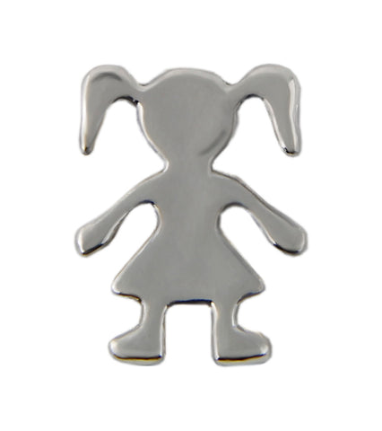 Silver Girl Floating Charm