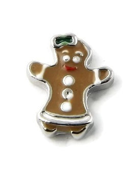 Gingerbread Girl Christmas Floating Charm