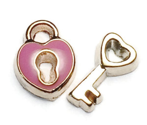 Pink And Gold Padlock And Key Floating Charm Set
