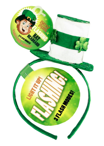 St. Patrick's Day Flashing Headband -White