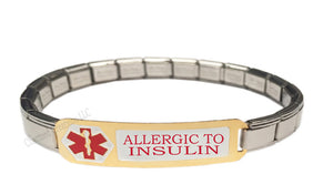 Allergic To Insulin Medical Alert 9mm Italian Charm Starter Bracelet
