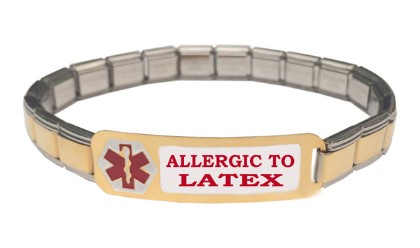 Allergic To Latex Medical Alert 9mm Italian Charm Starter Bracelet