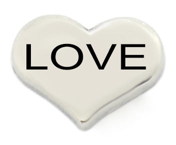 Love Silver Heart Floating Charm