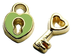 Green And Gold Padlock And Key Floating Charm Set