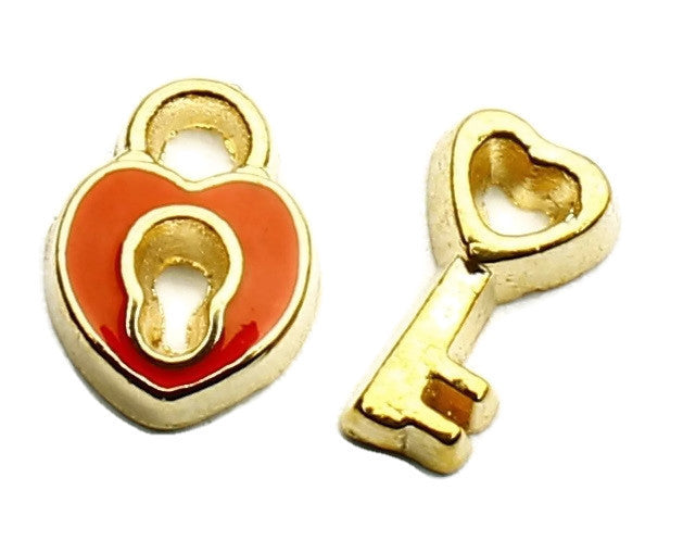 Red And Gold Padlock And Key Floating Charm Set