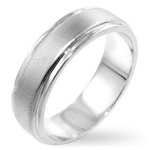 Men's Classic 6 MM Wedding Band Silvertone