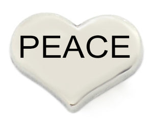 Peace Silver Heart Floating Charm