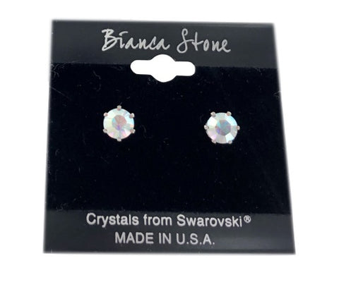 Aurora Borealis Stud Earrings With Genuine Swarovski Crystals