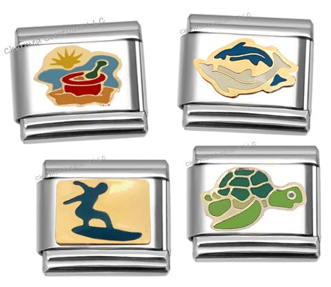 Beach Theme (Set Of 4) 9mm Italian charm