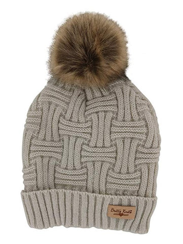 Oat Britt's Knits Plush Lined Knit Hat With Pom