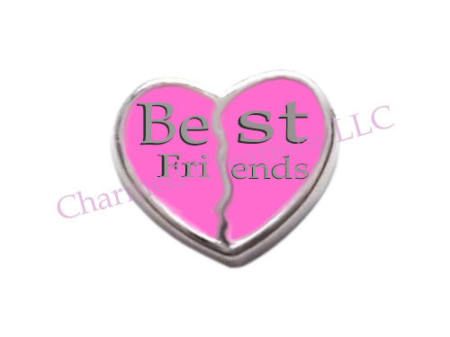 Best Friends Heart Floating Charm
