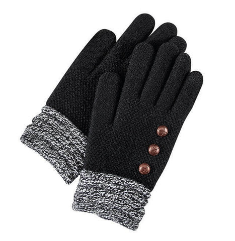 Black Britt's Knits Ultra Soft Button Accent Gloves