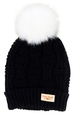 Black Britt's Knits Plush Lined Knit Hat With Pom