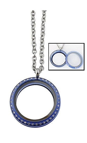 30mm Blue Acrylic Screw Top Floating Charm Locket Necklace