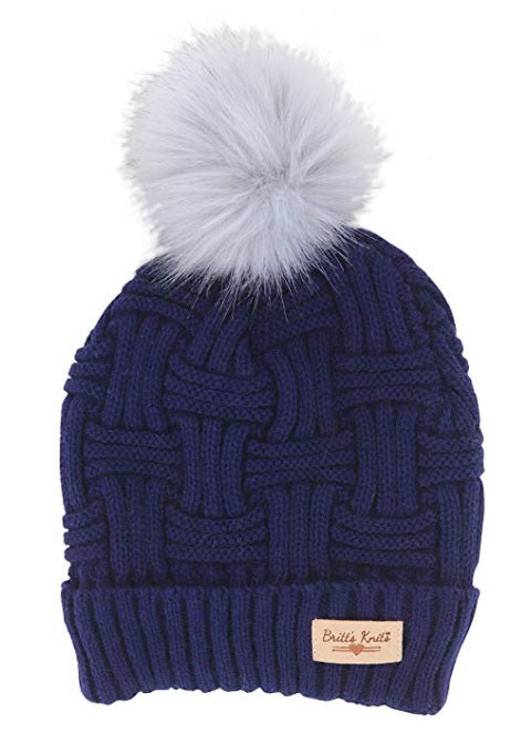 Blue Britt's Knits Plush Lined Knit Hat With Pom