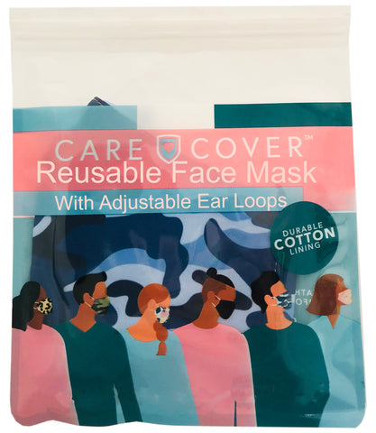 Blue Camo Adult Care Cover Face Mask