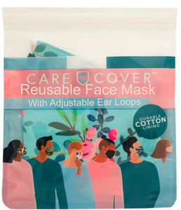 Teal Floral Adult Care Cover Face Mask