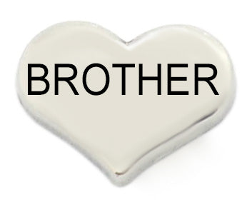 Brother Silver Heart Floating Charm