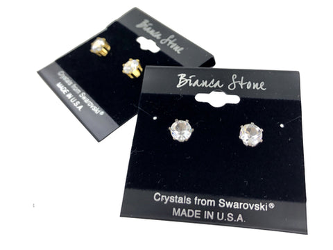 April Birthstone Stud Earrings With Genuine Swarovski Crystals