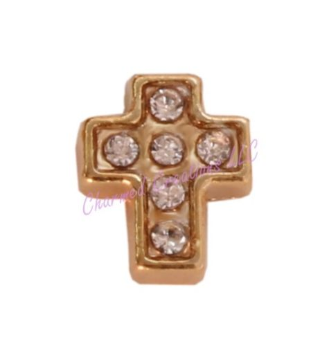 Gold Tone CZ Cross Floating Charm