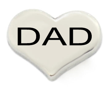 Dad Silver Heart Floating Charm