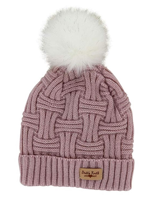 Blush Britt's Knits Plush Lined Knit Hat With Pom