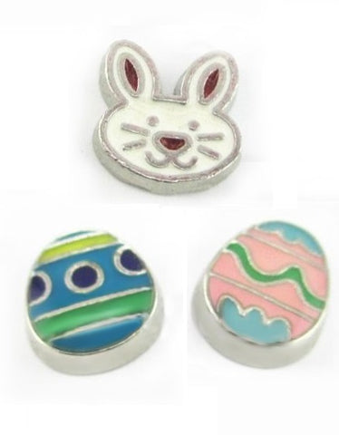 Set Of Three Easter Floating Charms Blue & Pink Egg And Bunny
