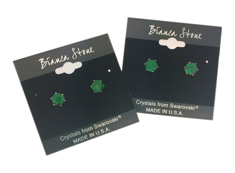 May Birthstone Stud Earrings With Genuine Swarovski Crystals