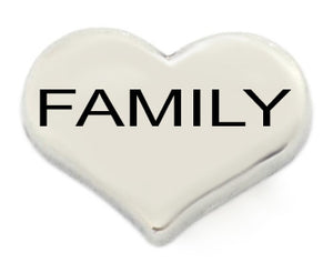 Family Silver Heart Floating Charm