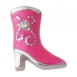 Pink Cowgirl Boot Floating Charm