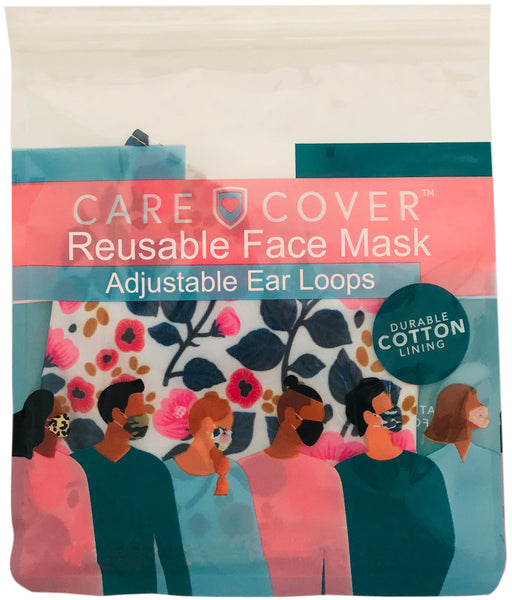 White Floral Adult Care Cover Face Mask