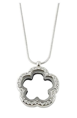 Flower Shape Floating Charm Locket Necklace