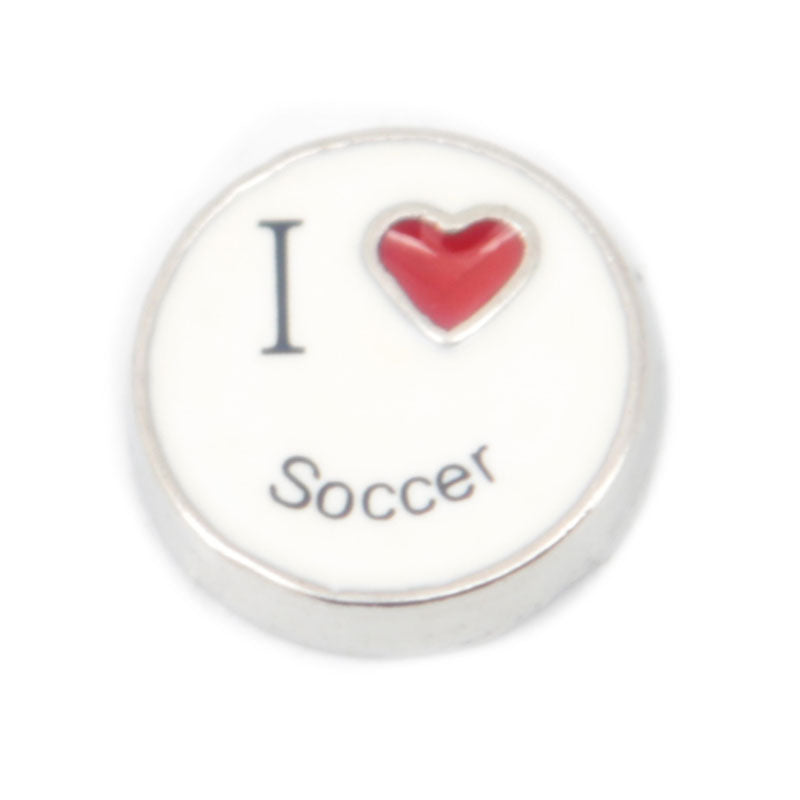 I Love Soccer Floating Charm