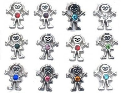 Birthstone Girl Floating Charms