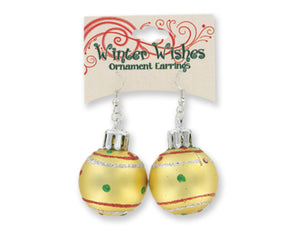 Gold Winter Wishes Christmas Ornament Earrings